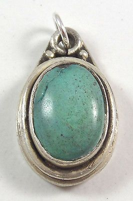 Vintage-Sterling-Silver-Etched-Oval-Turquoise-Dangle-Pendant-7-1g-448820