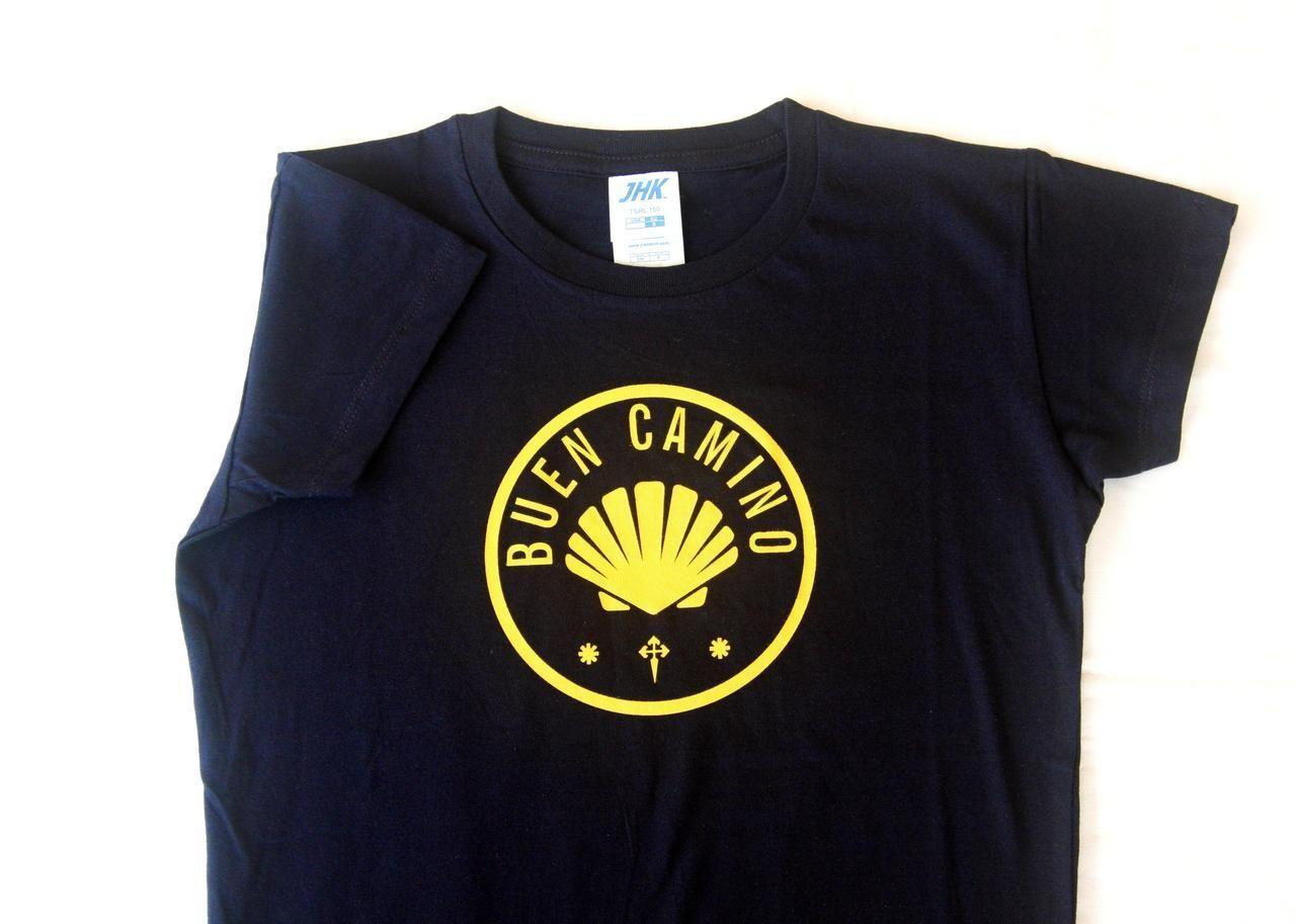 (http://www.spanishdoor.com/camino-de-santiago-buen-camino-t-shirt-size-s-women/) #CaminoDeSantiago #PilgrimTShirt