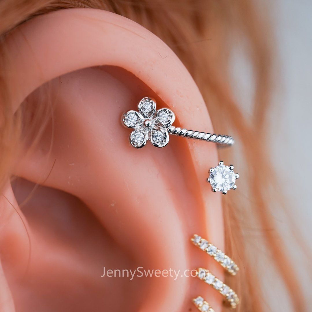 Sparkel Flower Zircon Helix Earring Cartilage Piercing in ...