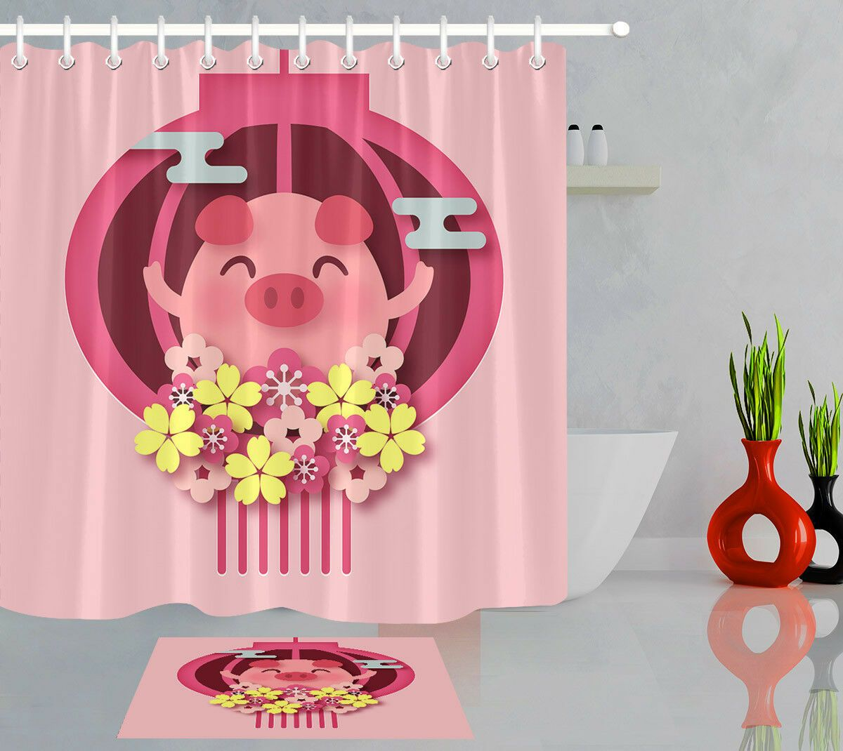 Cartoon Flower Pig Bathroom Decor Waterproof Fabric Shower