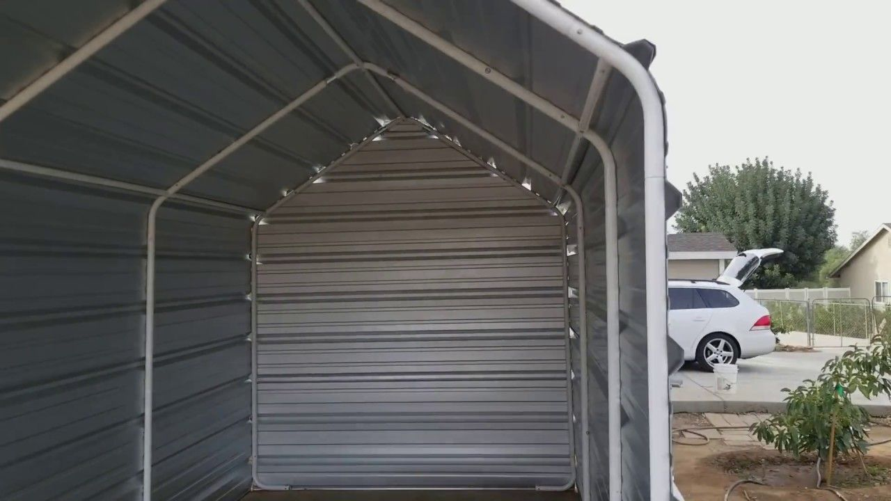 Harbor Freight Tools Portable Garage Into Permanent Structure Youtube Portable Garage Harbor Freight Tools Portable Sheds