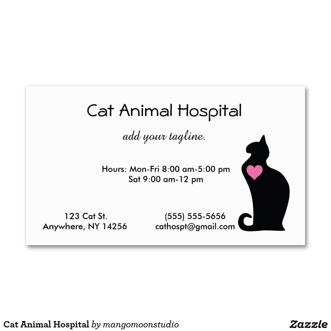 Cat Animal Hospital Double-Sided Standard Business Cards (Pack Of ...