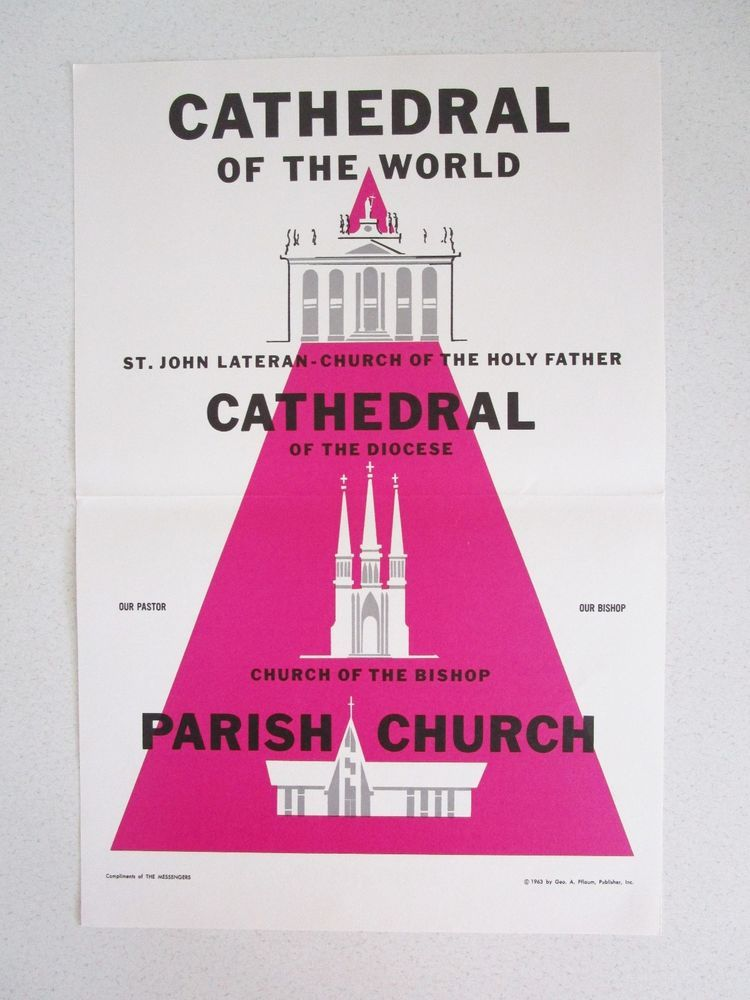 Cathedral of the World 1963 Catholic Church Poster hierarchy Religion  Vintage