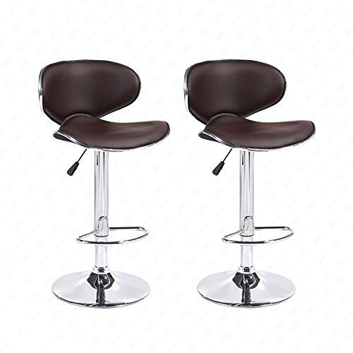 dfm leather hydraulic swivel adjustable bar stools brown set of 2