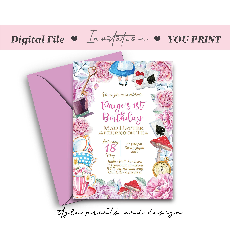 Alice In Wonderland Digital File Invitation Garden Party
