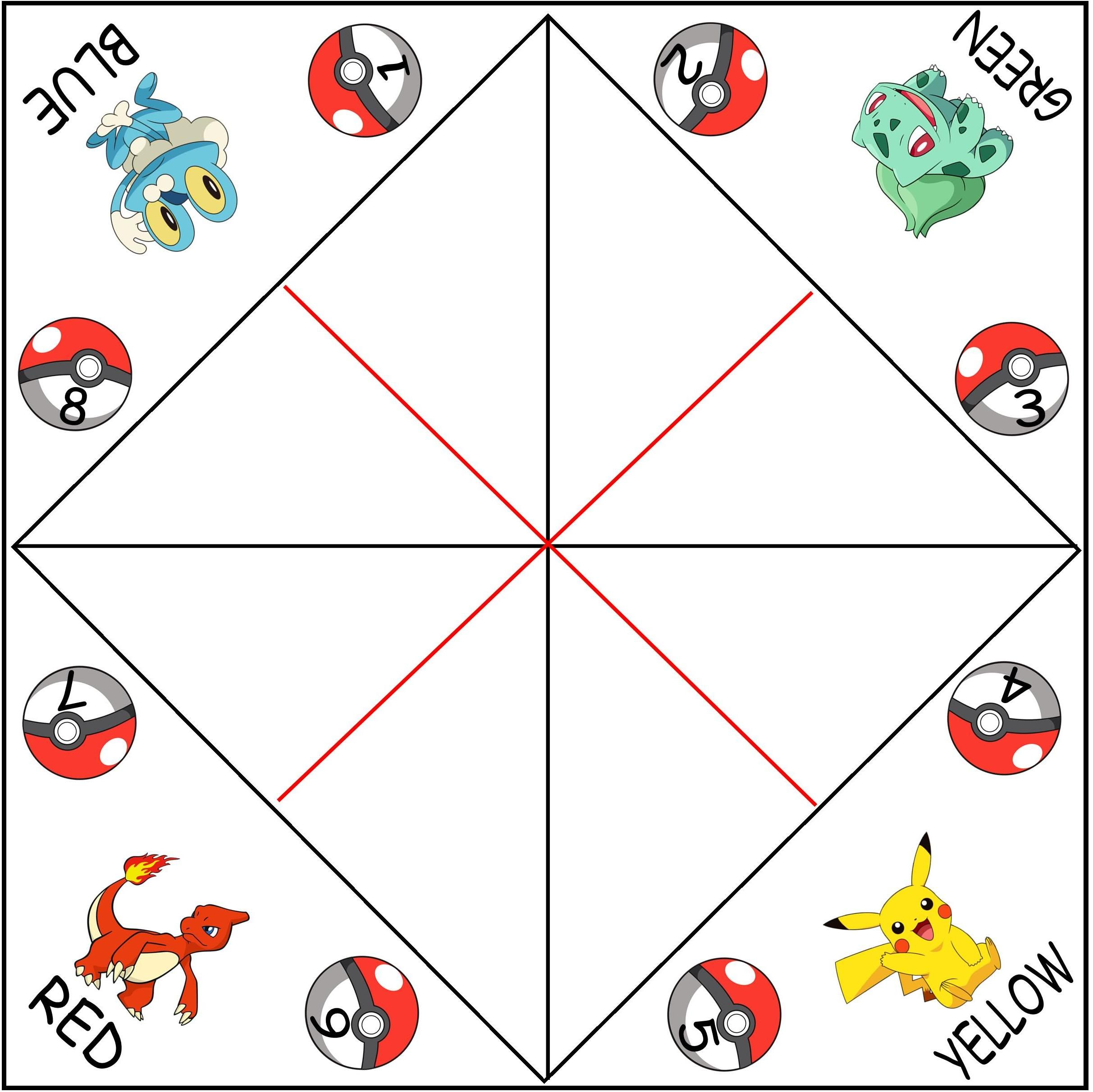 Blank Pokemon Cootie Catchers Aka Paper Fortune Tellers