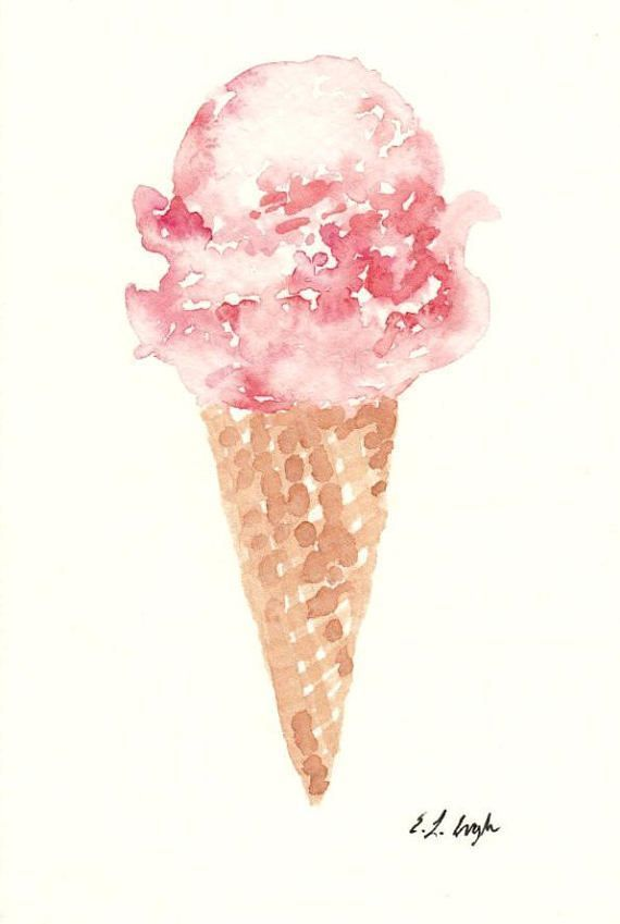 Pink icecream painting, watercolor icecream cone, summer treat, icecream print, pink watercol...