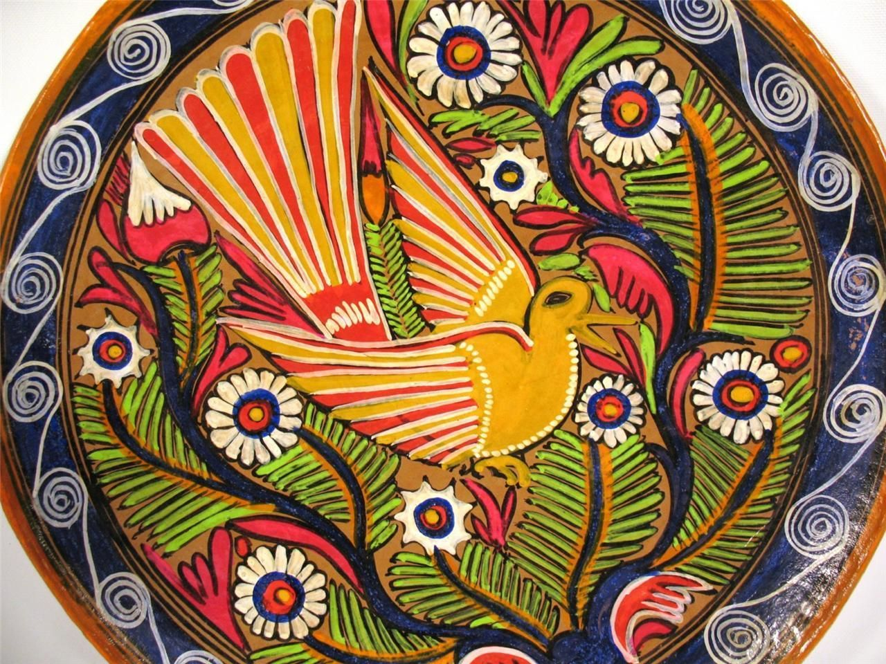 EX Large Mexican Talavera Pottery Bird Folk Art Plate Hand Paint ...