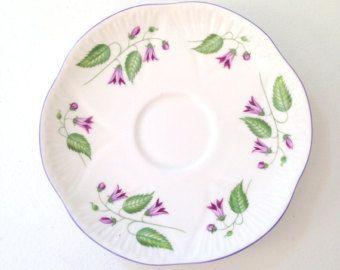 Antique Shelley Fine Bone China Saucer Replacement China Campanula Pattern - c. 1945 - 1966