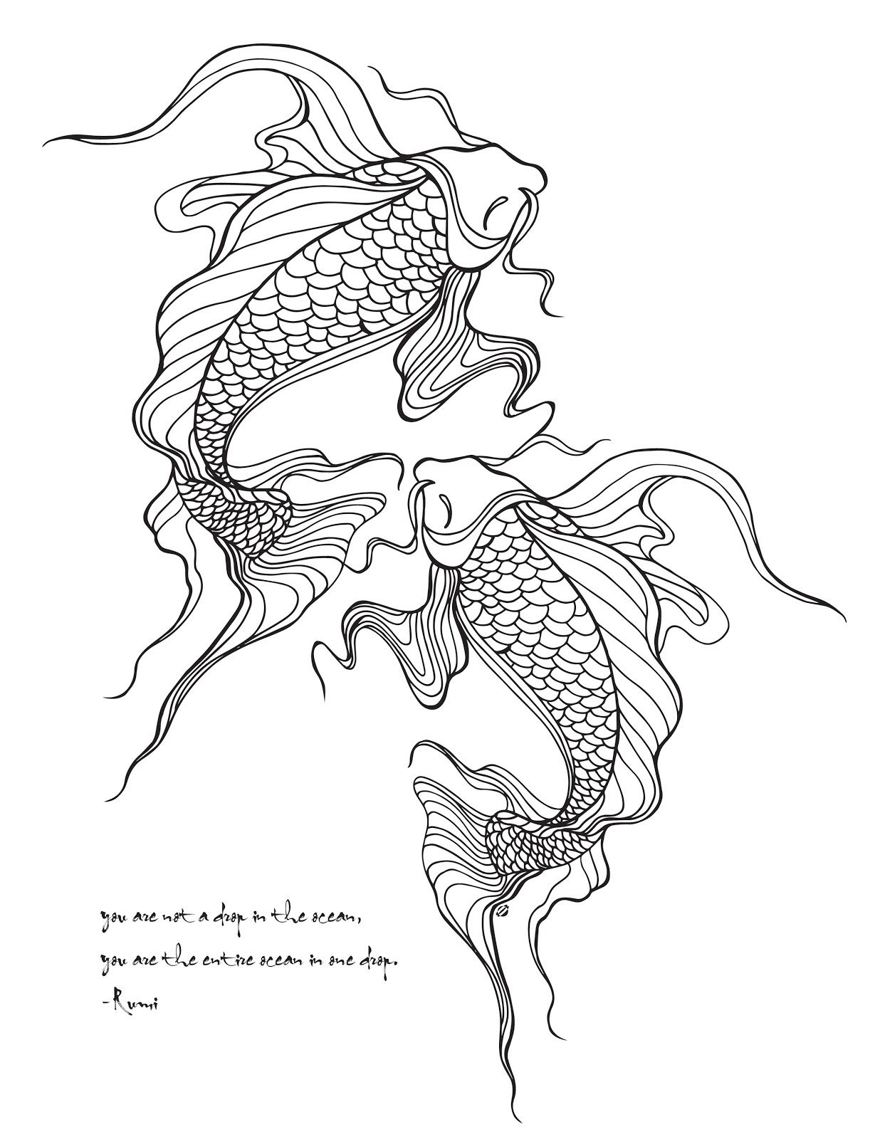 LostBumblebee C2015 MDBN GROWN UP COLOURING COLORING SHEETS KOI FISH