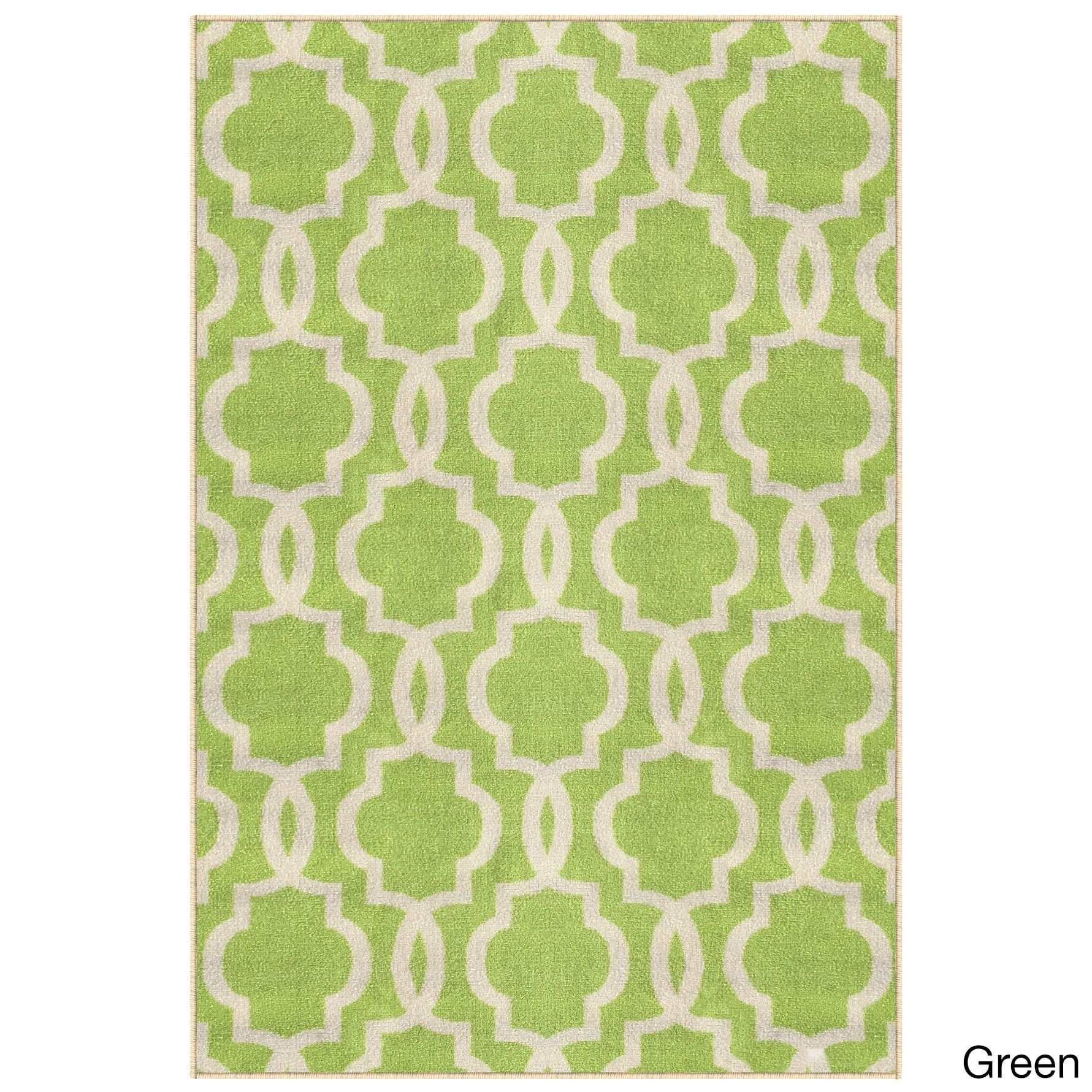 Fancy Moroccan Trellis Non-Slip Area Rug Rubber Backed
