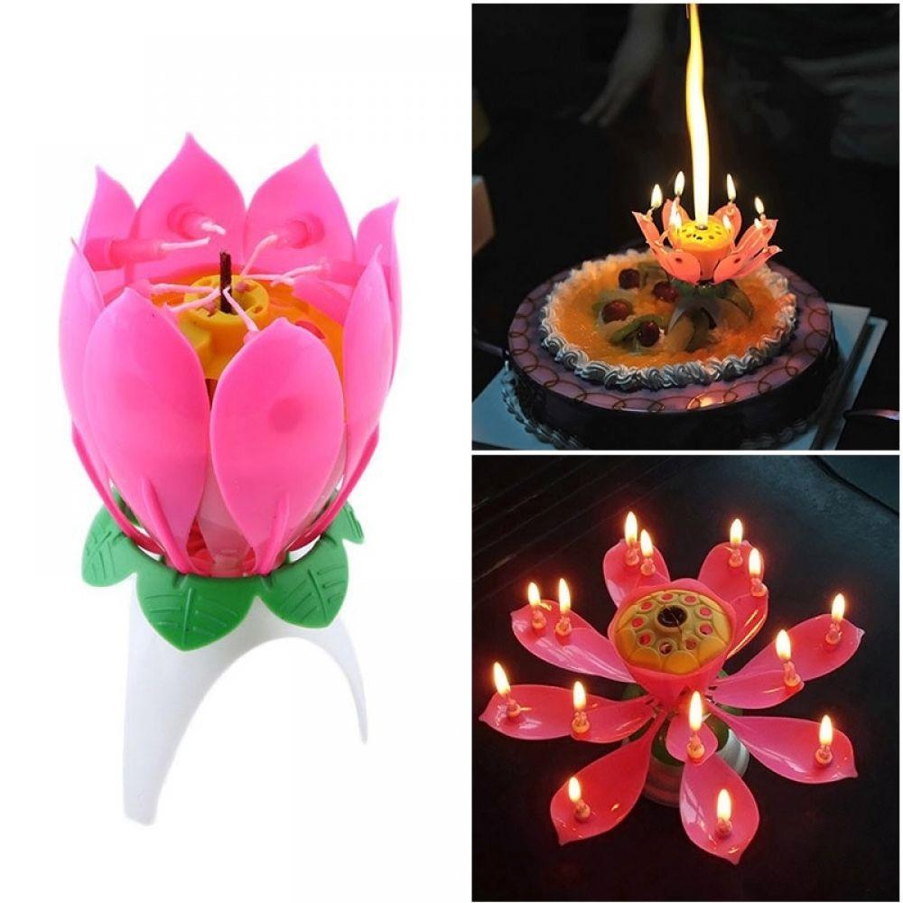 Joy Singing Music Birthday Candle Monolayer Lotus Candle