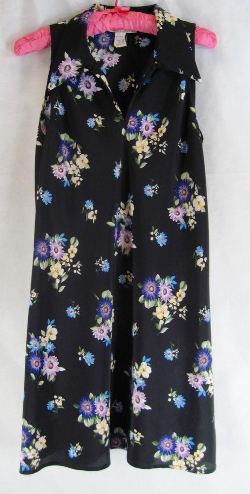 Vintage R-Wear Rampage Black Floral Sleeveless A Line Sundress Women's Size S #RWearTampageClothingCompany #Sundress #Casual