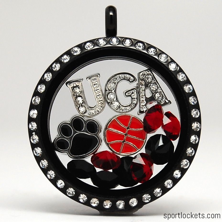 Georgia Basketball Themed Locket Necklace From Sportlockets Com Customize With Your Own Letters Georgia Dawgs Georgia Basketball Georgia Bulldogs