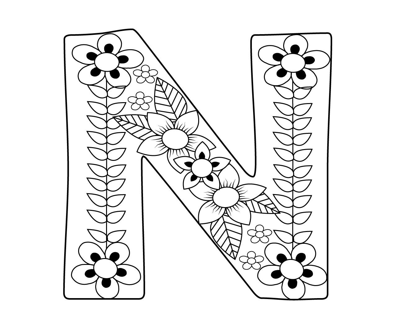 Letter N Coloring Pages For Adults Coloring Letters Coloring Pages Alphabet Coloring Pages