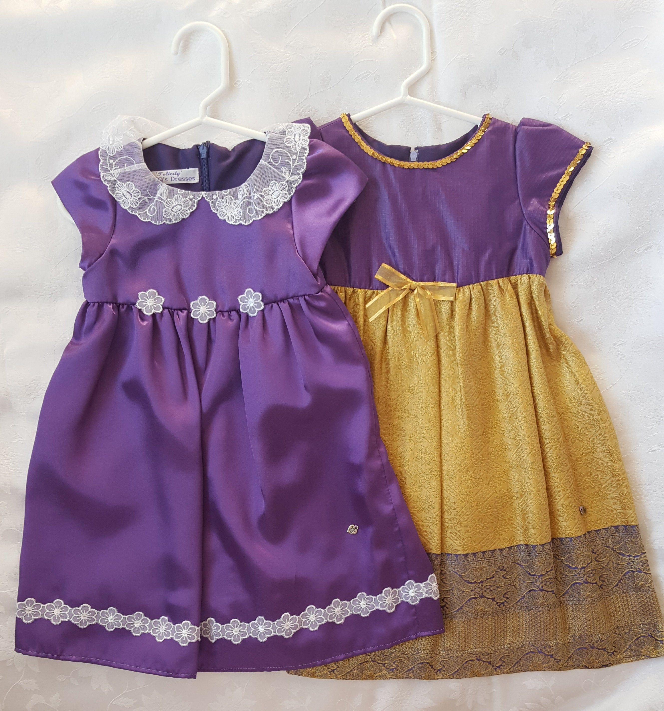 Items similar to Baby Girl Special Occasion Dresses. Purple Satin Traditional Dresses. Baby Wedding, Birthday Party Dress. on Etsy