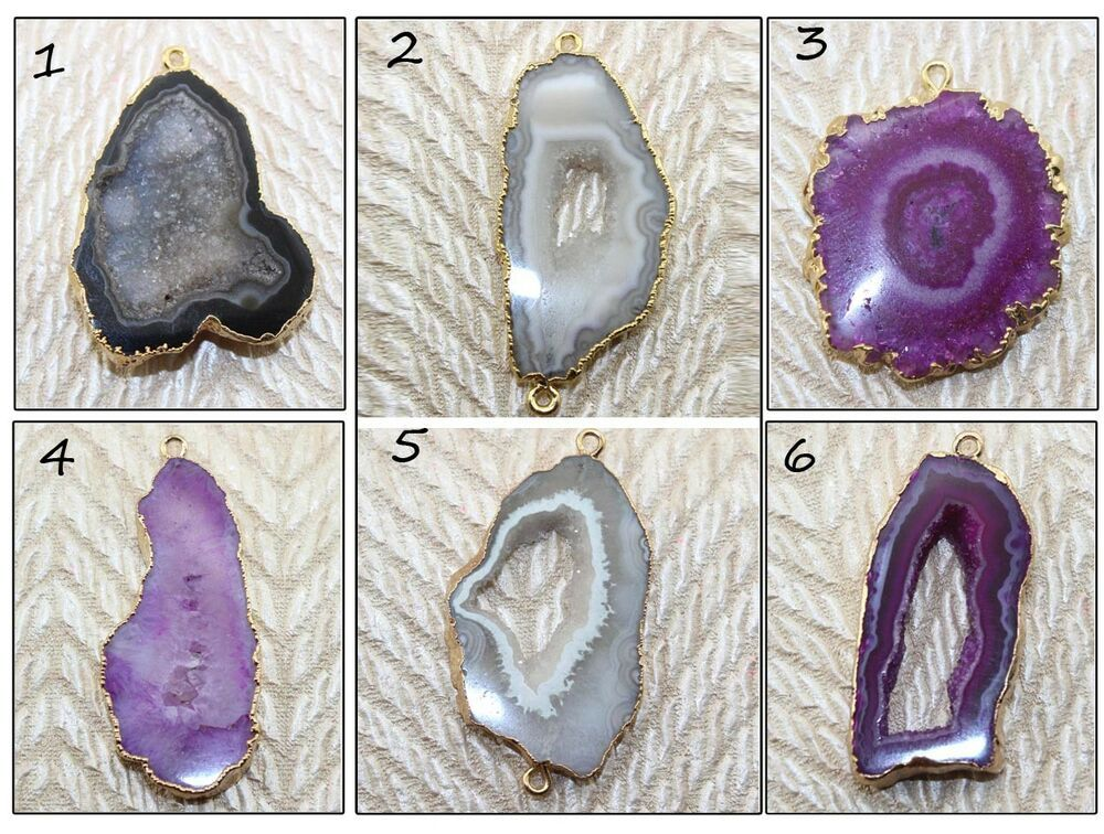 Natural Brazilian Geode Druzy Silver Plated Pendant Charms Connector Jewelry