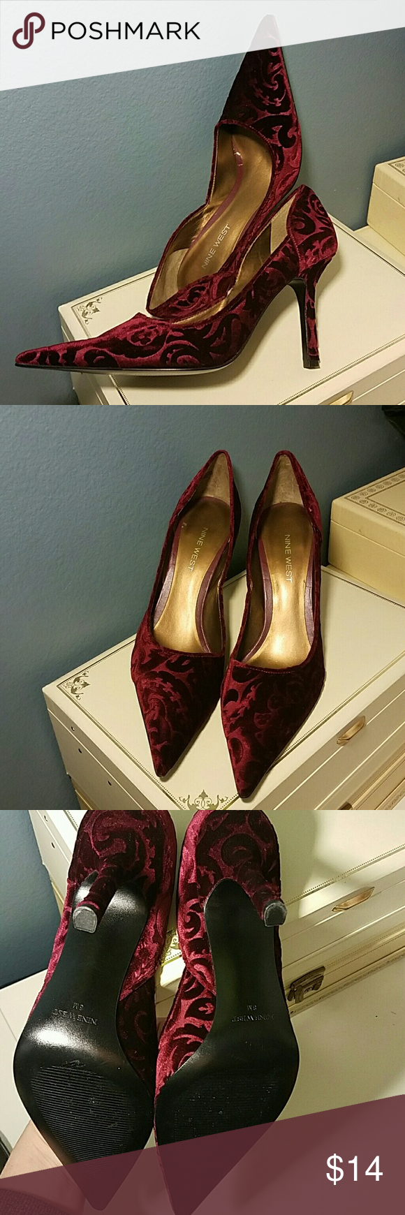 Nine West velvet heels size 8 Beautiful deep red..floral tone on tone pattern..EXTRA pointy toe...very, very little wear on bottom..I don't think these have been worn outside..size 8..fantastic shoes for the holidays! Nine West Shoes Heels