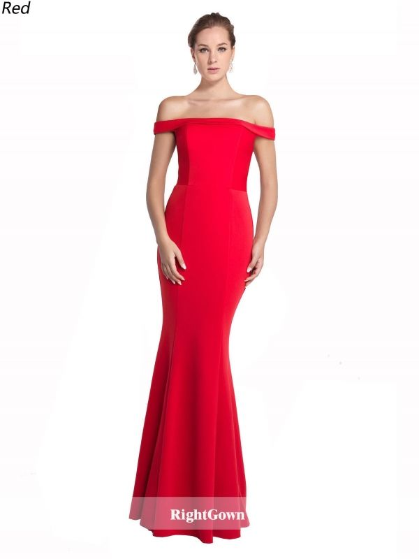 Off the Rack Mermaid Off the Shoulder Long Jersey Sleeveless Red ...