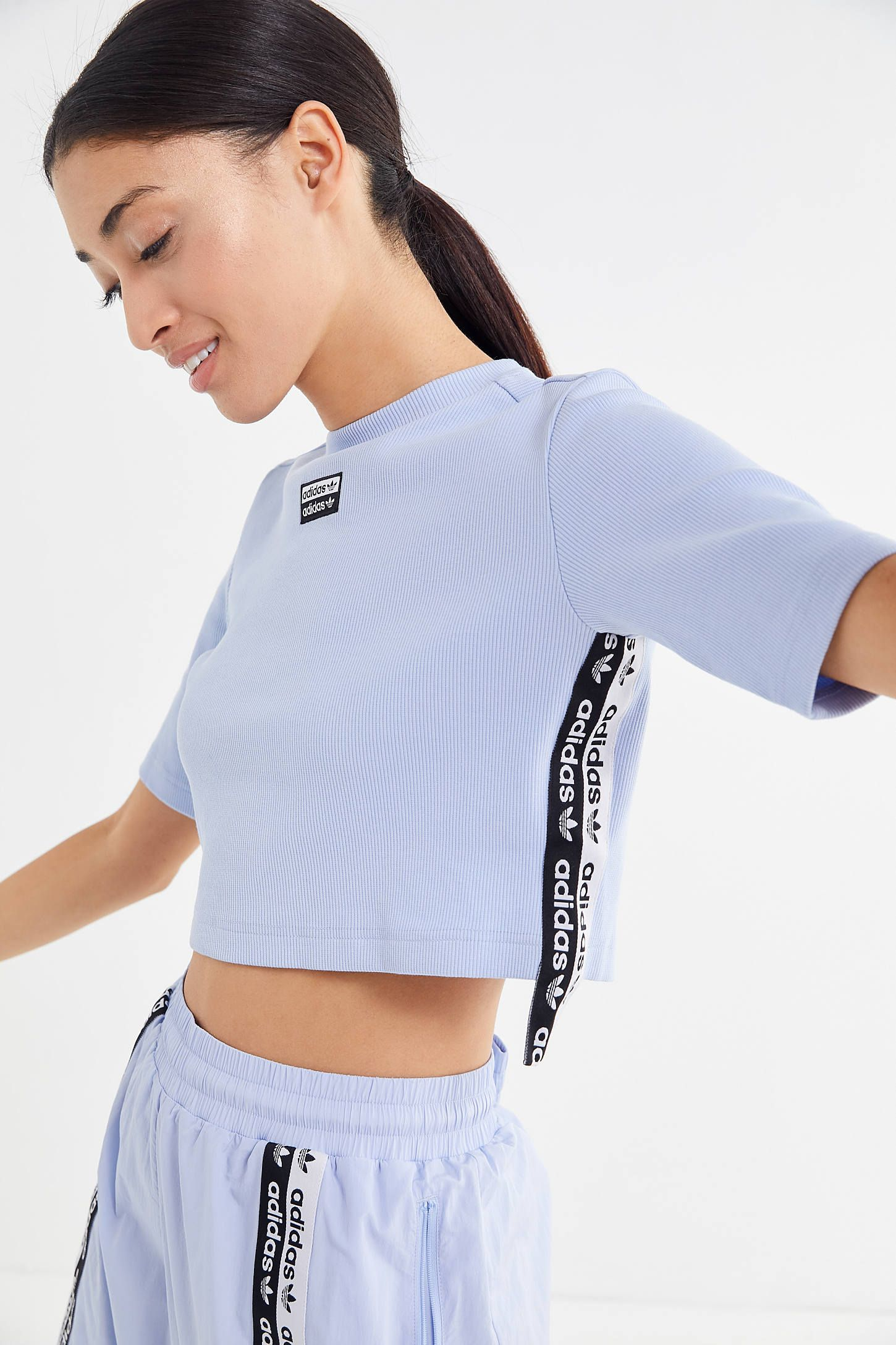 adidas Originals RYV taping cropped t shirt in periwinkle