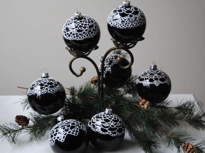 Bombki Szklane Czarne Biala Koronka Malowane Recz 4792944393 Oficjalne Archiwum Allegro Christmas Ornaments Holiday Decor Novelty Christmas