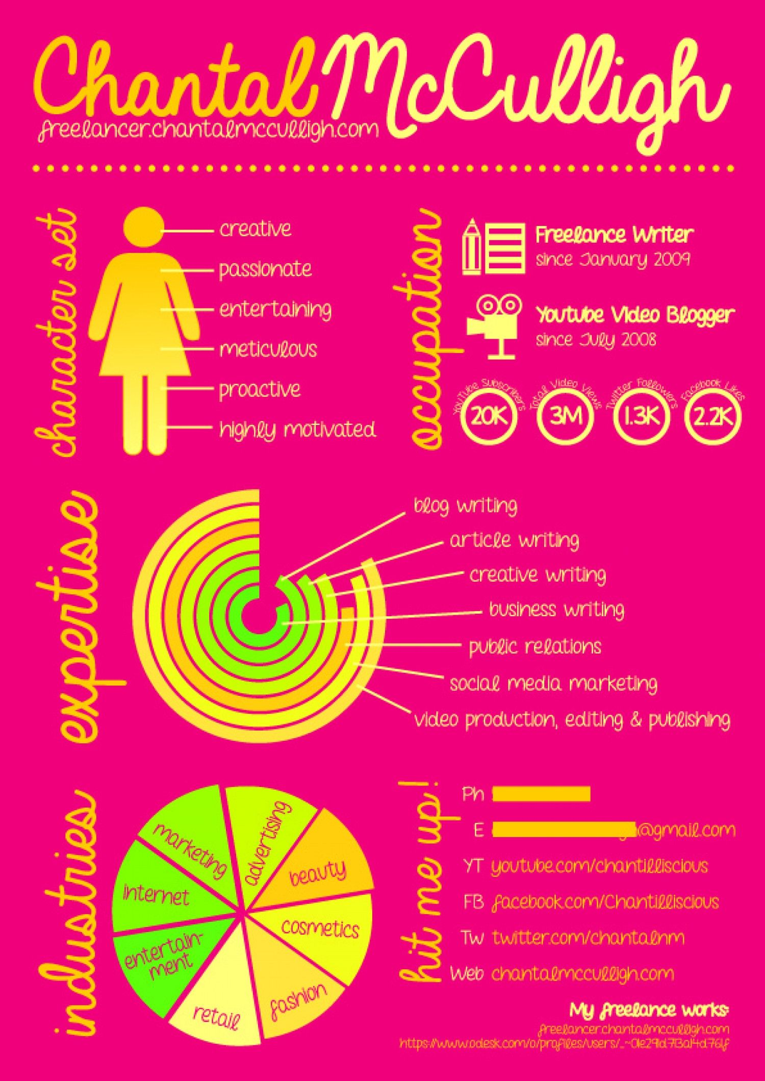 feminine infographic resume of a freelance writer infographic