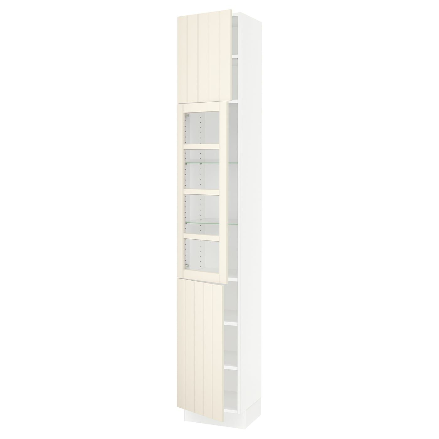 Ikea Sektion White Hittarp Off White High Cabinet W Glass Door 2 Doors In 2020 Tempered Glass Door Tall Kitchen
