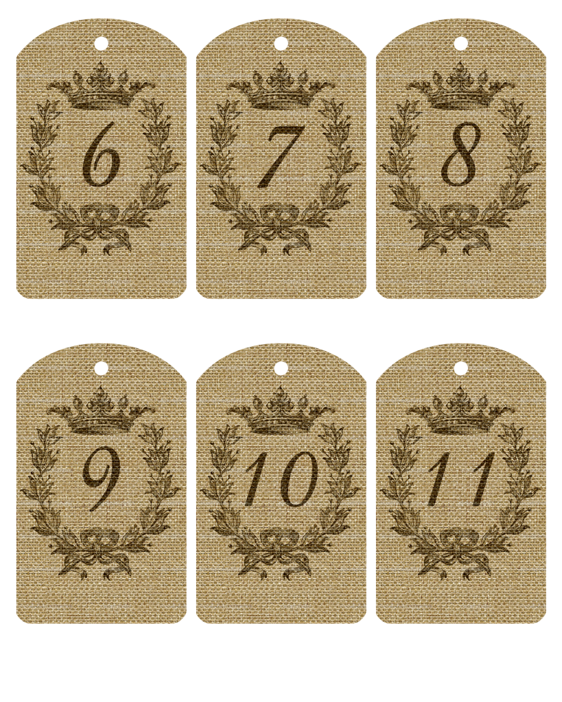 photo relating to Printable Number Tags called Free of charge Printable Burlap Variety Tags 1-20 artwork Printables