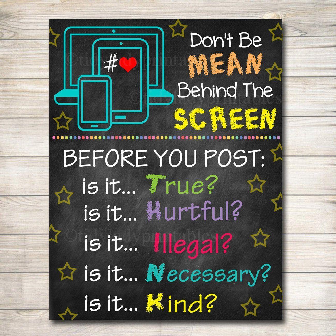 Anti cyber bully poster classroom decor printable
