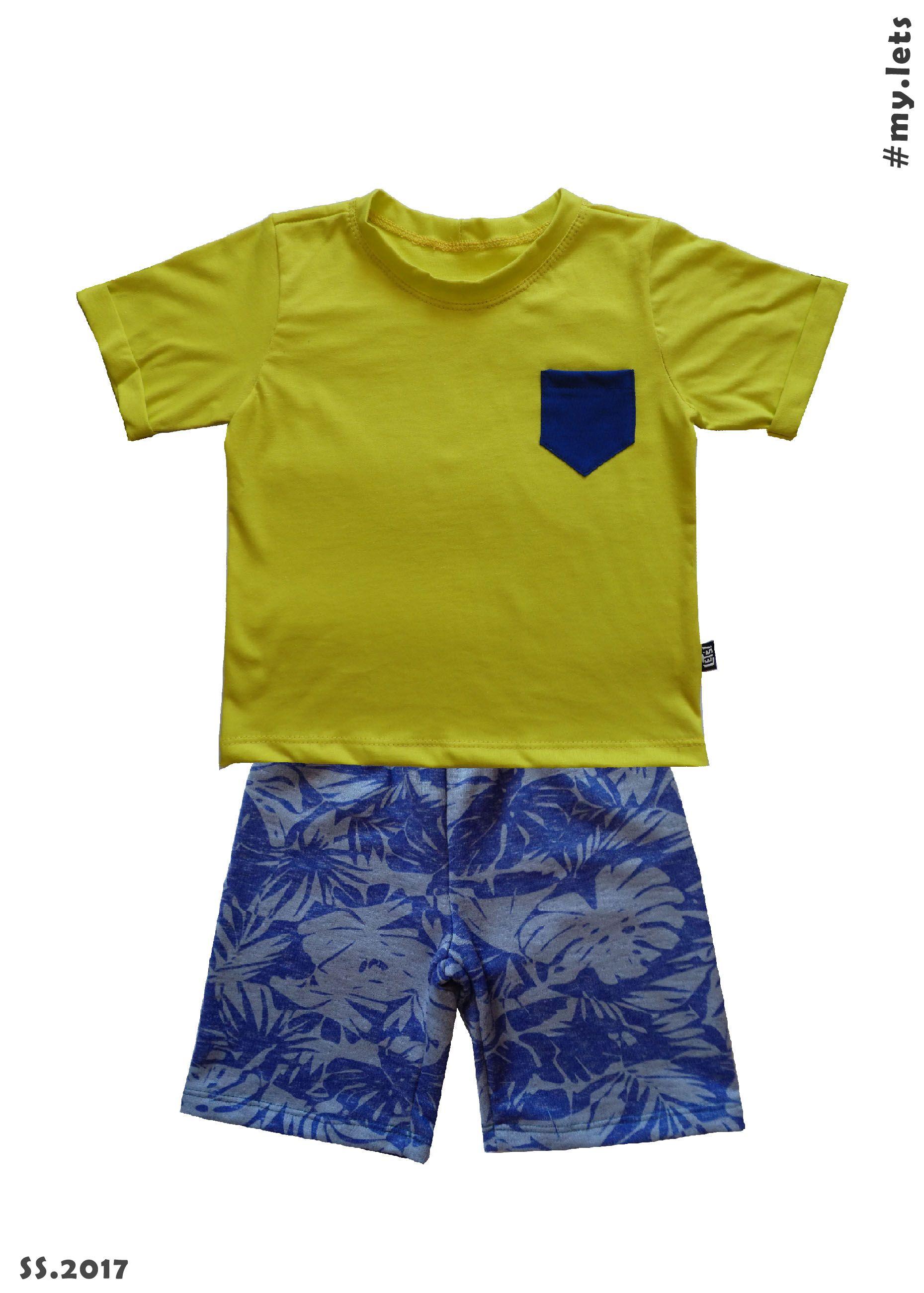 Conjunto bermuda básica com estampa de folhas + camiseta de malha penteada  com bolsinho S2! 07ebc6edc3625