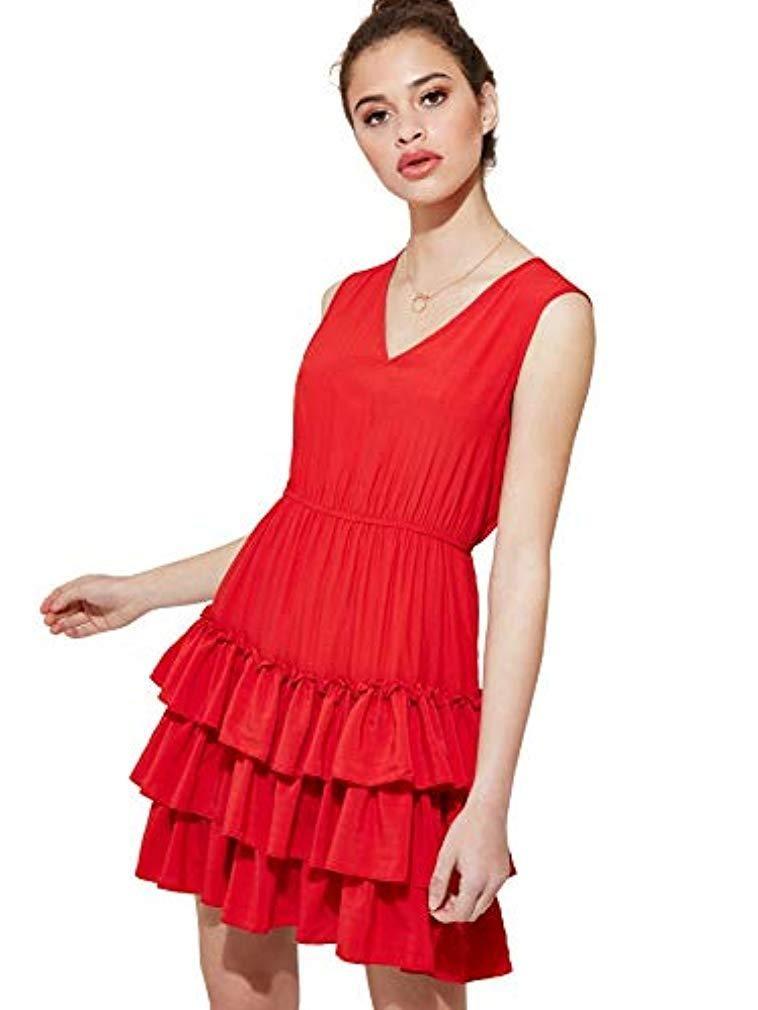 f3d30ef12e3 $23.99 👈 DIDK Womens Sleeveless V Neck A Line Layered Ruffle Hem Solid  Dress 💋