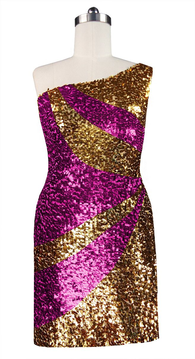 1e691254984 Short patterned dress in metallic gold and fuchsia sequin spangles fabric  with one-shoulder cut.
