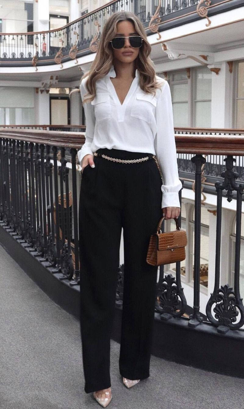 30 Trendy Outfits To Wear For Every Occasion Elegant Outfit Classy White Shirt Outfits Meeting Outfit [ 1338 x 800 Pixel ]