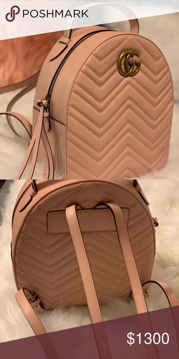36872a6b00b8 GG Marmont quilted leather backpack Light pink chevron leather Double G  Interior zip and smartphone pockets Top handle with 2