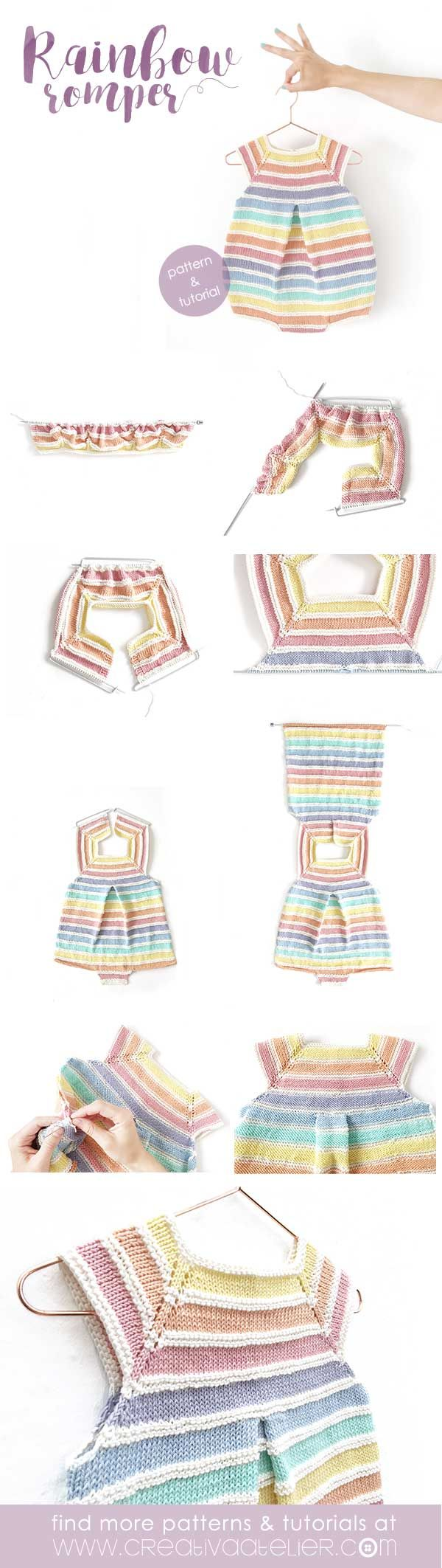 Rainbow Romper [ Baby Knitting Pattern & Tutorial ] FREE | Niñas ...