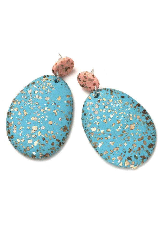Emily Green - Terrazzo Drop Earrings in Peach and Antique Blue