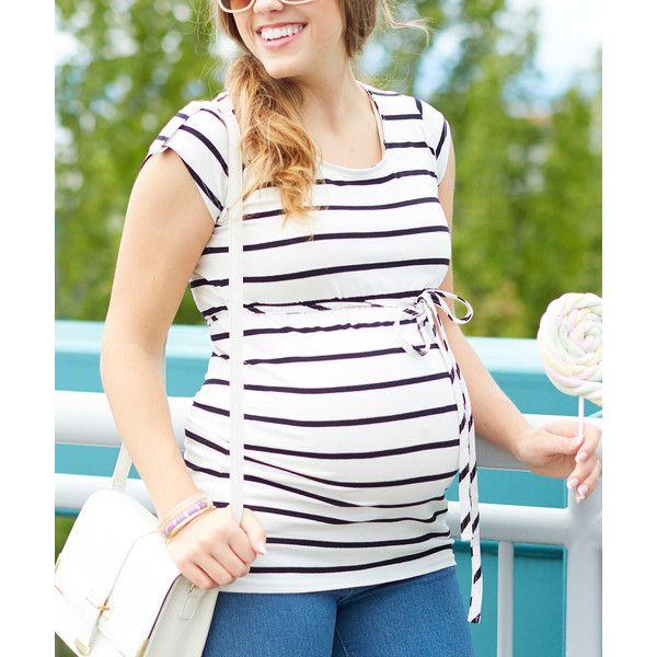 Rumor Has It Cream & Black Stripe Belted Maternity Top (225 MXN) ❤ liked on Polyvore featuring maternity