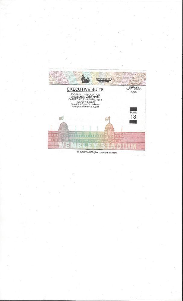 Colne Dynamoes V Emley Fa Vase Cup Final Match Ticket Stub 1988
