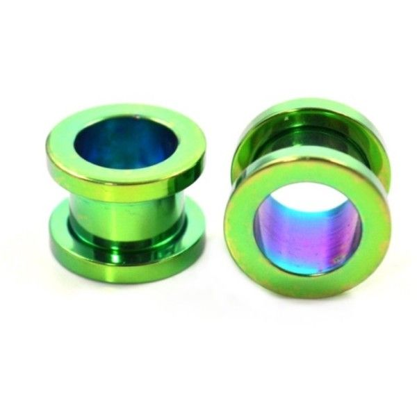 1 Pair Black Star Anodized Titanium Over Surgical Steel Screw-on plugs// tunnels