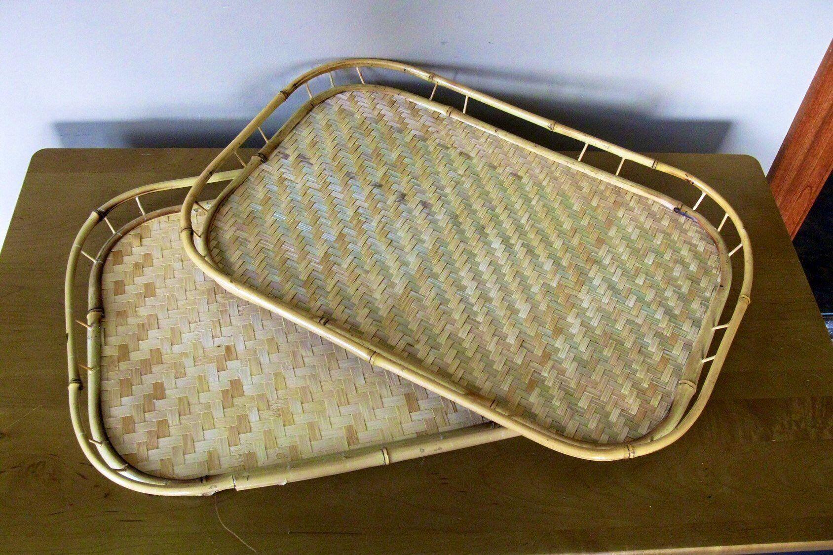Set Of 2 Bamboo Trays Wicker Bed Breakfast Lap Trays Lap Tray Dinner Tray Wicker
