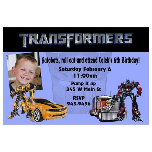 Transformers Blue Optimus Prime Bumblebee Birthday Invitation