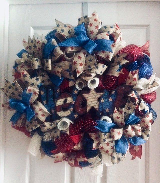 Patriotic Wreath Primitive Patriotic Door Decor Veterans