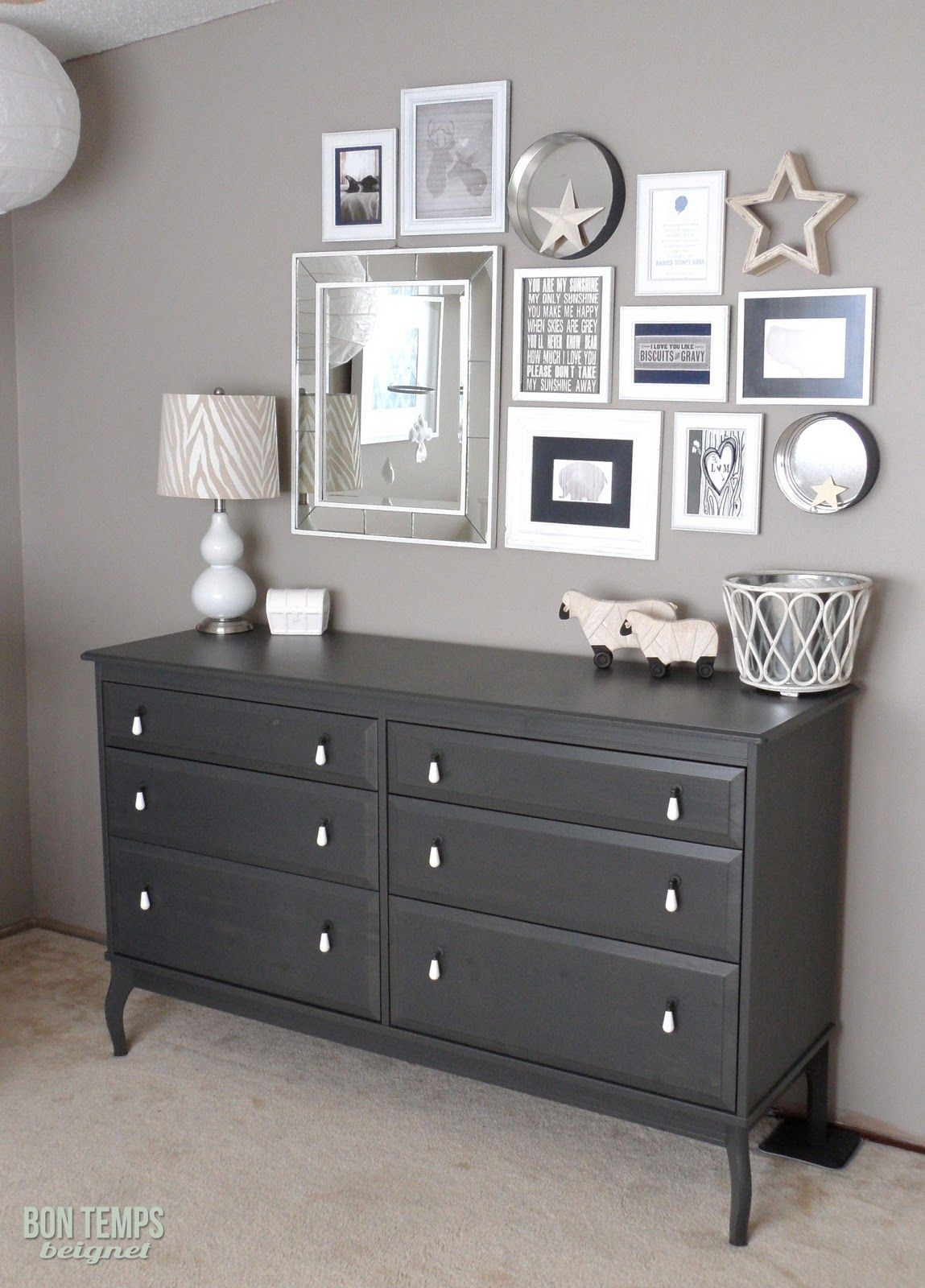 Paint behr 39 s perfect taupe from love the lamp too bon for Black white taupe bedroom