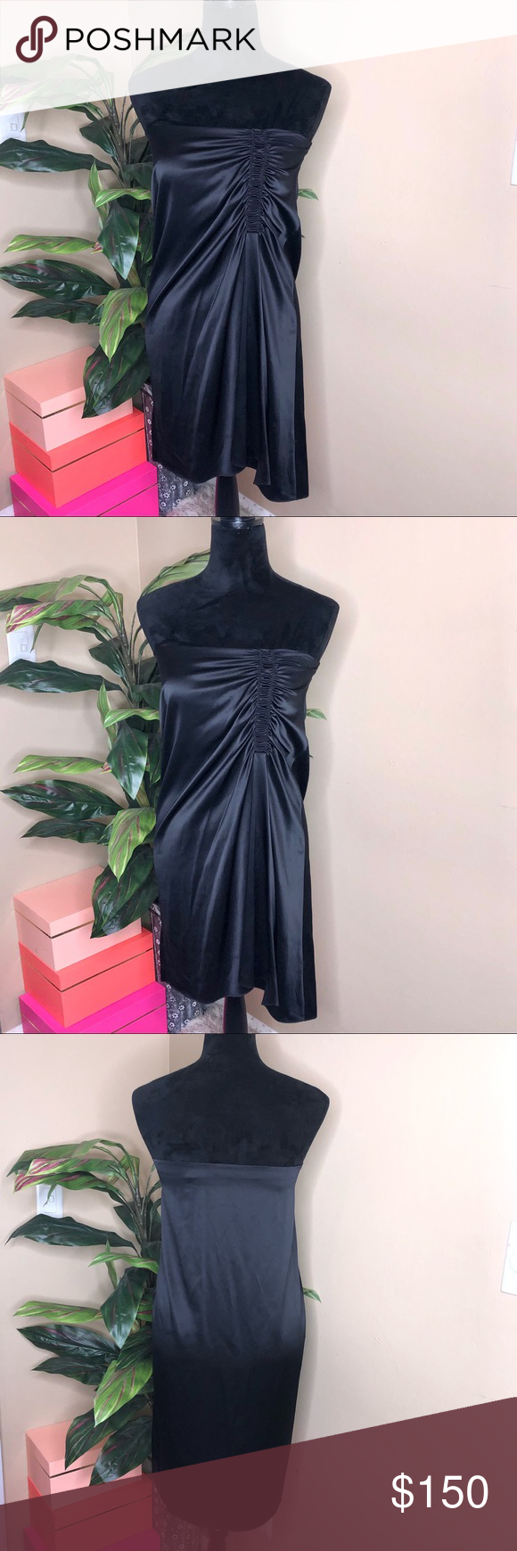 NWOT Theory Strapless Silk Dress Absolutely stunning and flawless Size 2  NWOT worn once 93% silk  7% elastane The perfect silky little black dress Theory Dresses Mini #myposhpicks