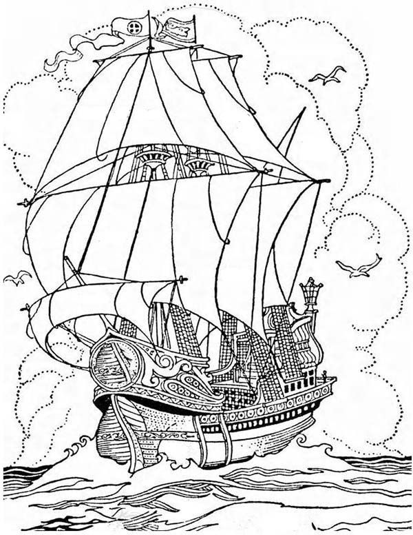 pirate ship a big pirate ship galleon coloring page