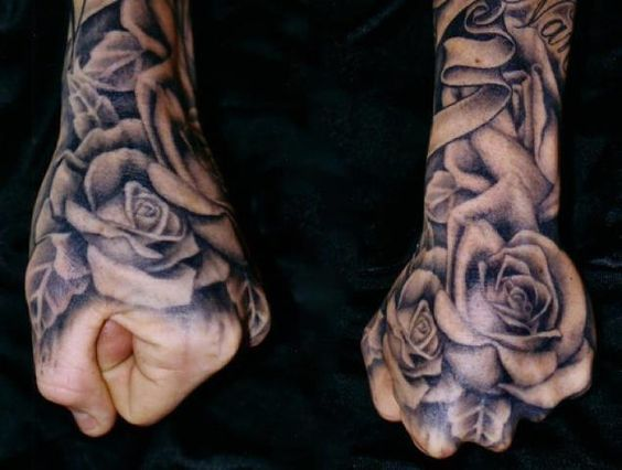 Hand Tattoos For Men Hand Tattoos For Guys Men Flower Tattoo Rose Tattoos