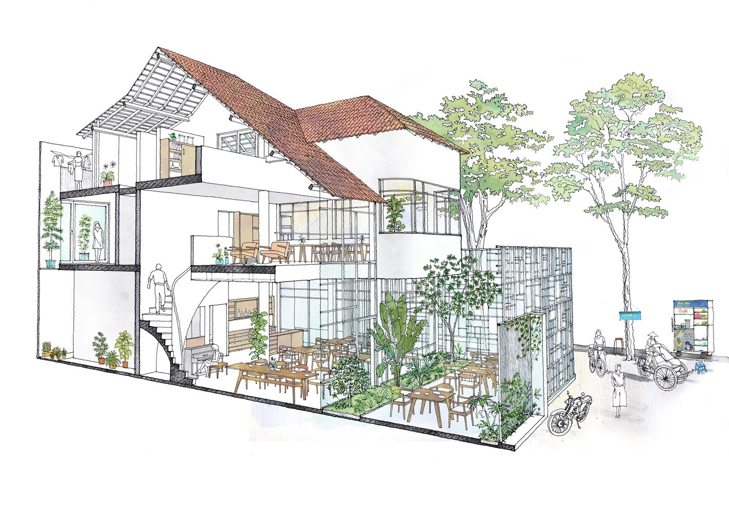 Gallery Of T House Kientruc O 26 Architectural Section Architecture Drawing Architecture Concept Drawings