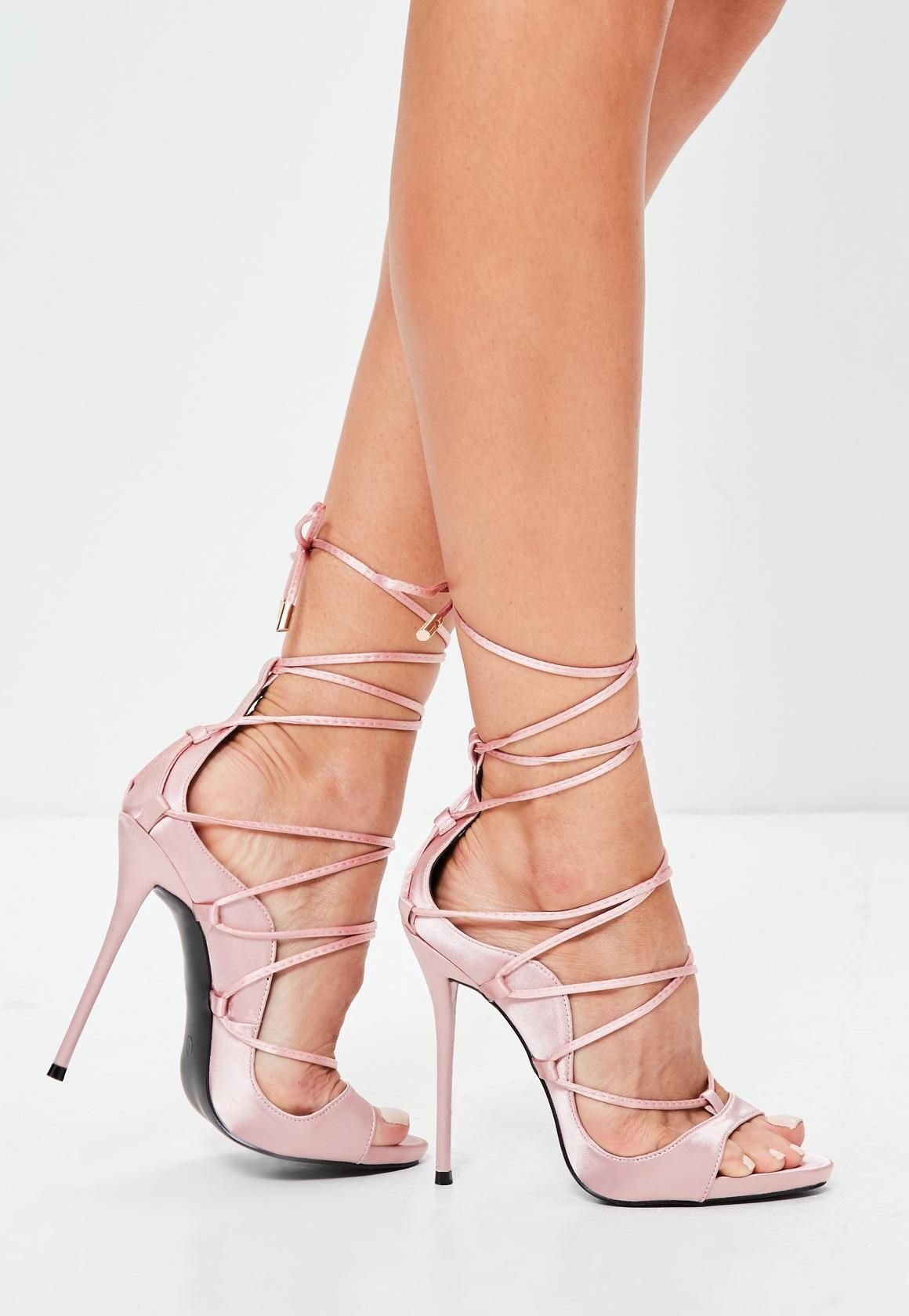 Missguided - Black Embroidered Lace Up Gladiator Heels