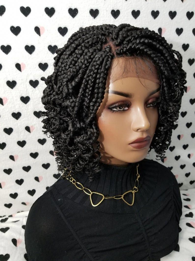 Handmade Box Braid Braided Lace Front Wig With Curly Ends ...