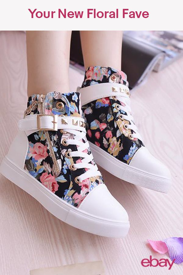 09358cc24c6f Womens High Top Athletic Casual Shoes Flowers Floral Print Lace Up ...